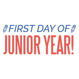 Letras a lápis do primeiro dia do ano júnior