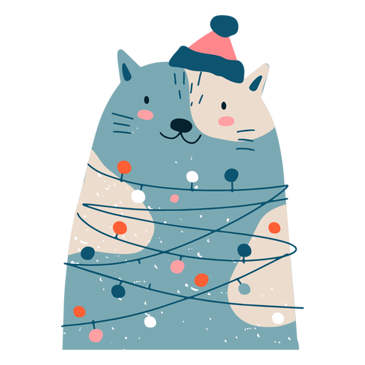 Lovely cat christmas illustration