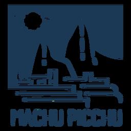 Silhueta de desenho de paisagem de Machu Pichu