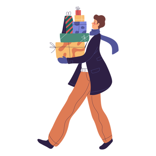 Man character carrying gifts