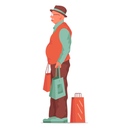Old man shopping flat character