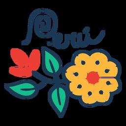 Diseño de país con flores en Perú