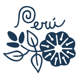 Projeto da silhueta do país florido do Peru