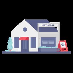 Tienda de mascotas edificio tienda plana