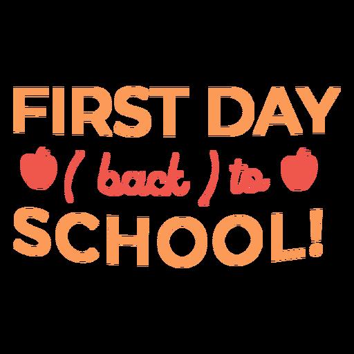 Cita del primer día escolar de manzana roja