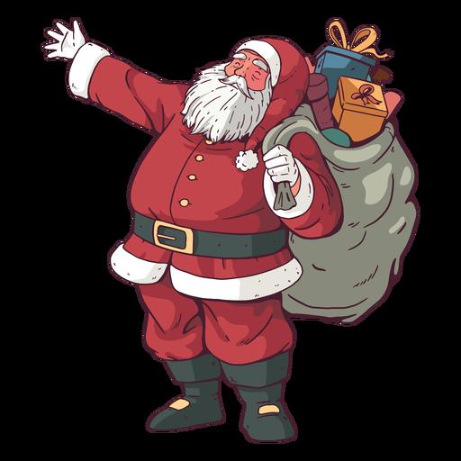 Papai Noel carregando ilustração de presentes