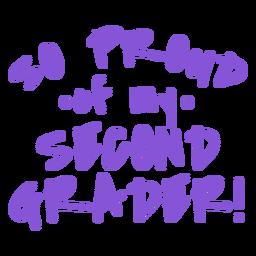 Design de letras orgulhosas para alunos da segunda série