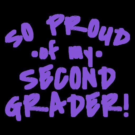 Alumno de segundo grado orgulloso diseño llettering Transparent PNG