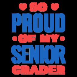 Letras coloridas de graduador senior