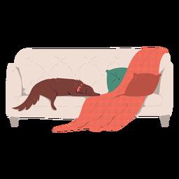 Perro soñoliento en la ilustración del sofá