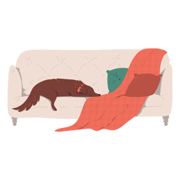 Sleepy dog on couch illustration