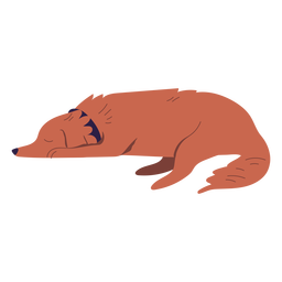 Sleepy laying dog illustration