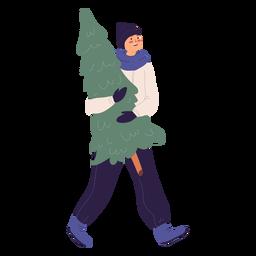 Homem sorridente carregando uma ilustração de árvore