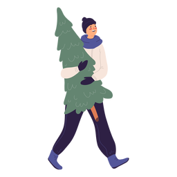 Smiley man carrying a tree illustration