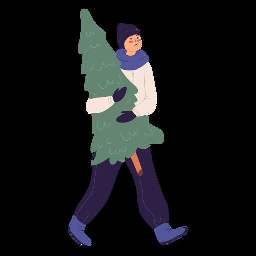 Hombre sonriente que lleva una ilustración de árbol