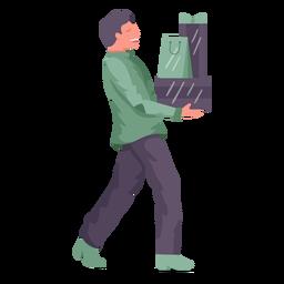 Smiley man shopping bags
