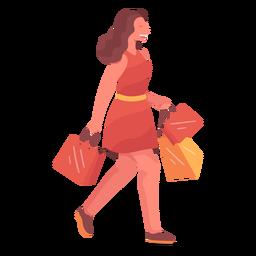 Mulher sorridente comprando personagem