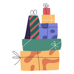 Stack gifts holiday illustration