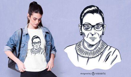 Diseño de camiseta de retrato de Ruth Bader