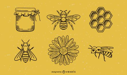 Honey logo set design