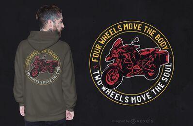 Diseño de camiseta con cita de dos ruedas.