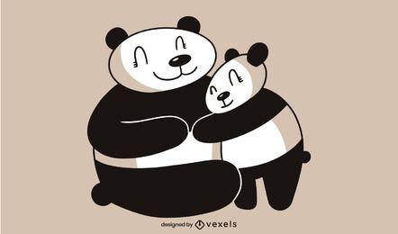 Diseño lindo de la ilustración de los pandas