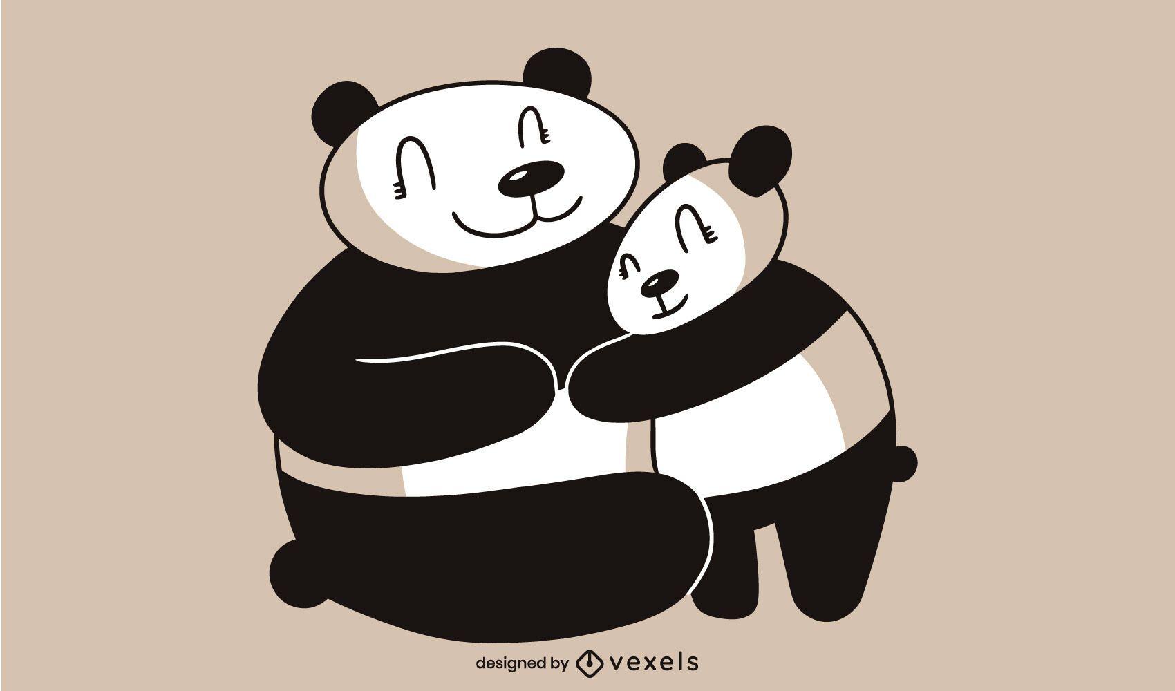 Desenho de ilustração de pandas fofos
