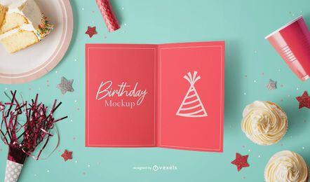Composición de maqueta de tarjeta de cumpleaños