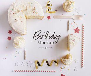 Composição de maquete de festa de aniversário