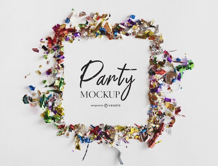 Party confetti mockup composition