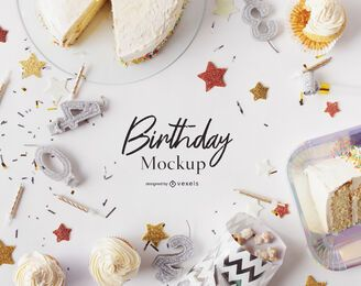 Birthday mockup composition