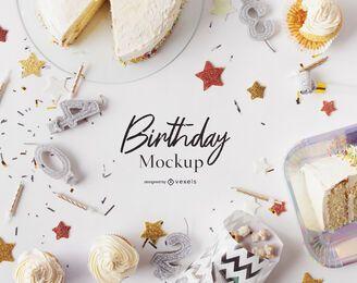 Composição de maquete de aniversário