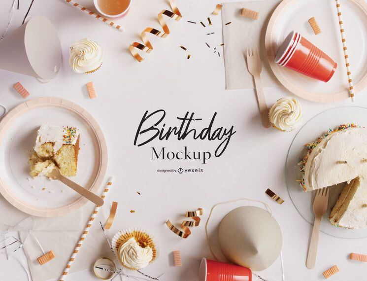 Birthday party psd mockup composition