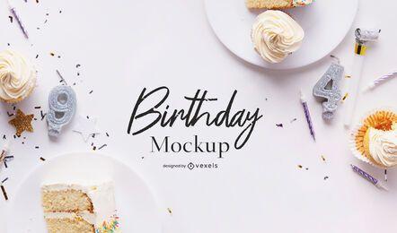 Composição psd de maquete de festa de aniversário