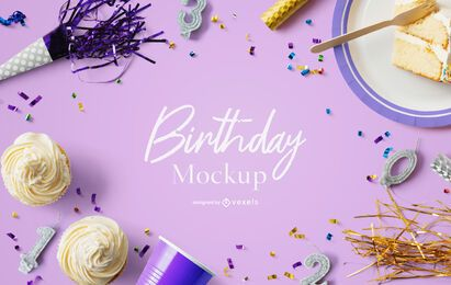 Composição de maquete de festa de aniversário psd