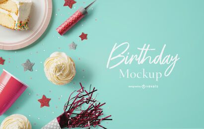 Party mockup psd composition
