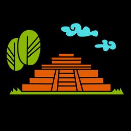 Diseño de ilustración del monumento de Tazumal