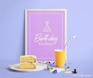 Composição de maquete de pôster de aniversário