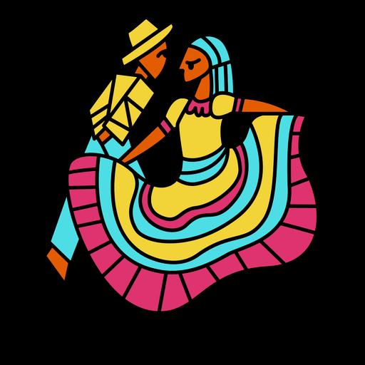 Traditional dancing costumes illustration