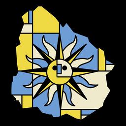 Desenho abstrato do mapa do Uruguai