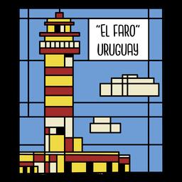 Ilustração da arte do farol do Uruguai