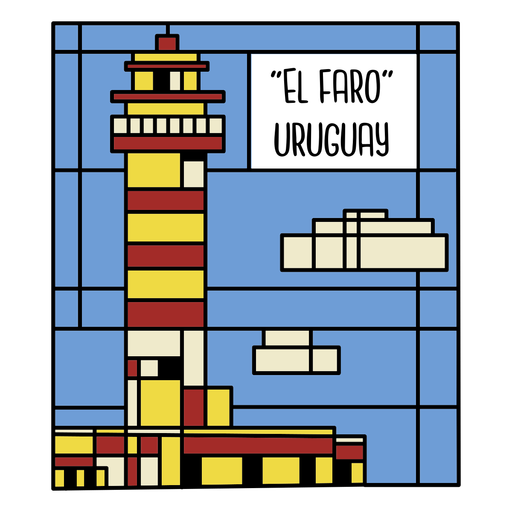 Uruguay lighthouse art illustration
