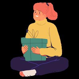 Mulher e personagem de caixa de presente