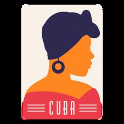 Woman cuba design side view flat