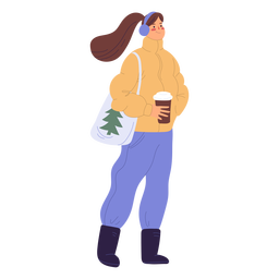 Woman drinking coffee standing illustration
