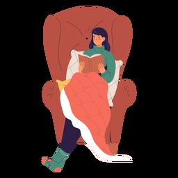 Frau die eine Buchfigur liest