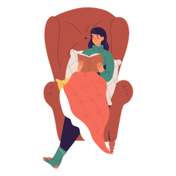 Woman reading a book character