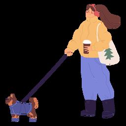 Mujer paseando a un perro ilustración