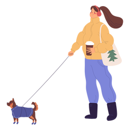 Woman walking a dog illustration