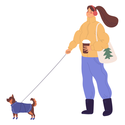 Woman walking a dog illustration Transparent PNG